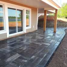 After stone patio and retaining walls