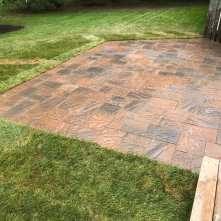 After - stone patio using Oaks Ridgefield in Cedar Blend