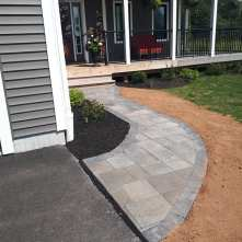 After stone walkway and beds